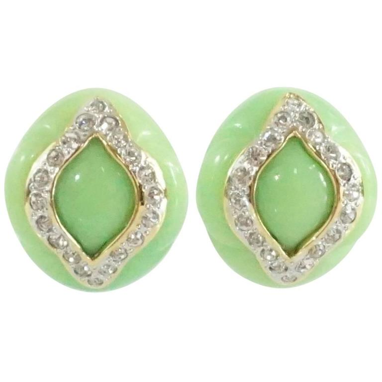 Replica Green With Rhinestone Design Clip Earrings For