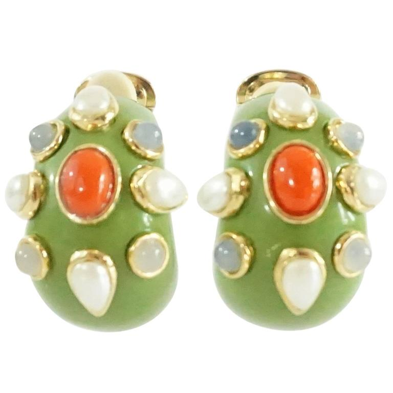 Replica Green With Gold Detailing And Faux Pearl Orange Beads Clip Earrings For