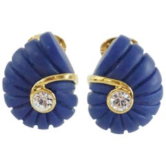 Replica Dark Blue Spiral with Rhinestone and Gold Detailing Clip Earrings