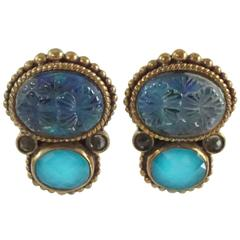 Stephen Dweck Blue and Aqua Crystals Clip Earrings with Bronze - NWT