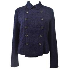 Comme des Garcons Navy Blue Textured Double Breasted Cropped Jacket