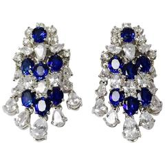 Stunning Sterling Silver Cubic Zirconia and Faux Sapphire Clip On Earrings