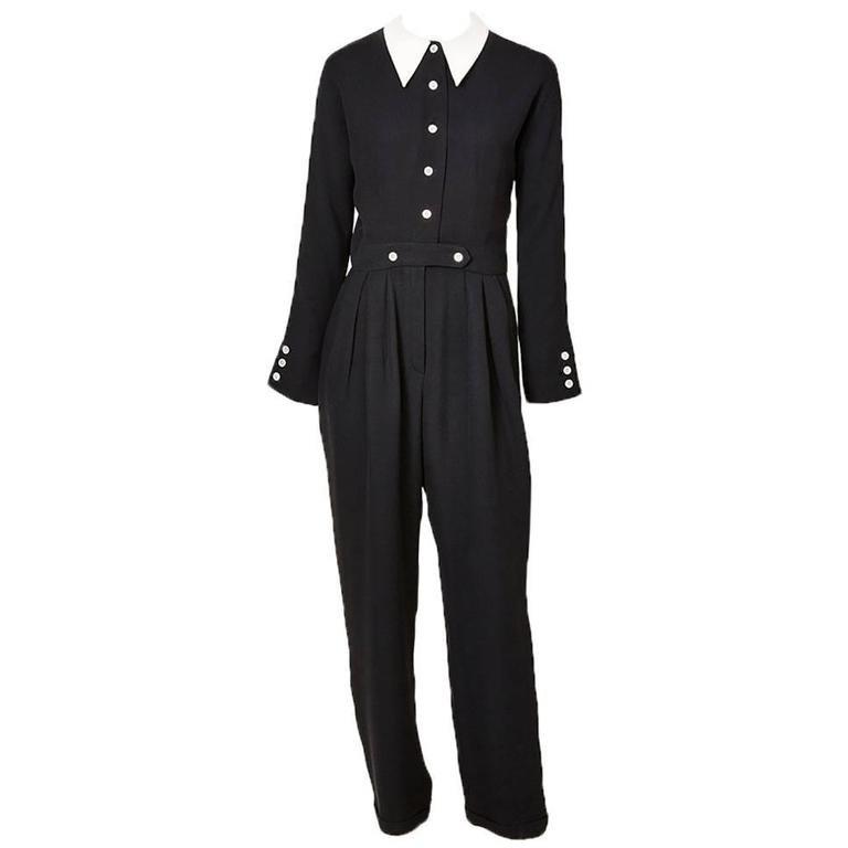 Geoffrey Beene Navy Crepe Jumpsuit With Cotton Piqué Collar 1