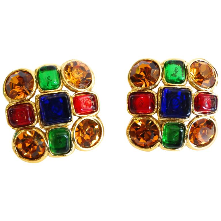 1980s Chanel Mulit Colored Gripoix Clip Earrings  For Sale