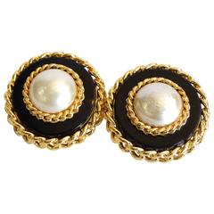Classic Round Chanel Earrings, 1980s