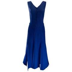 Geoffrey Beene Vintage Navy Blue Carwash Hem Sleeveless Midi Dress