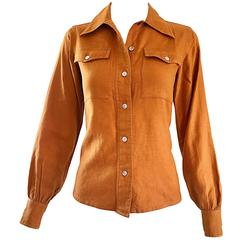 1970s Yves Saint Laurent Rive Gauche Terracotta Wool and Cotton Vintage Blouse