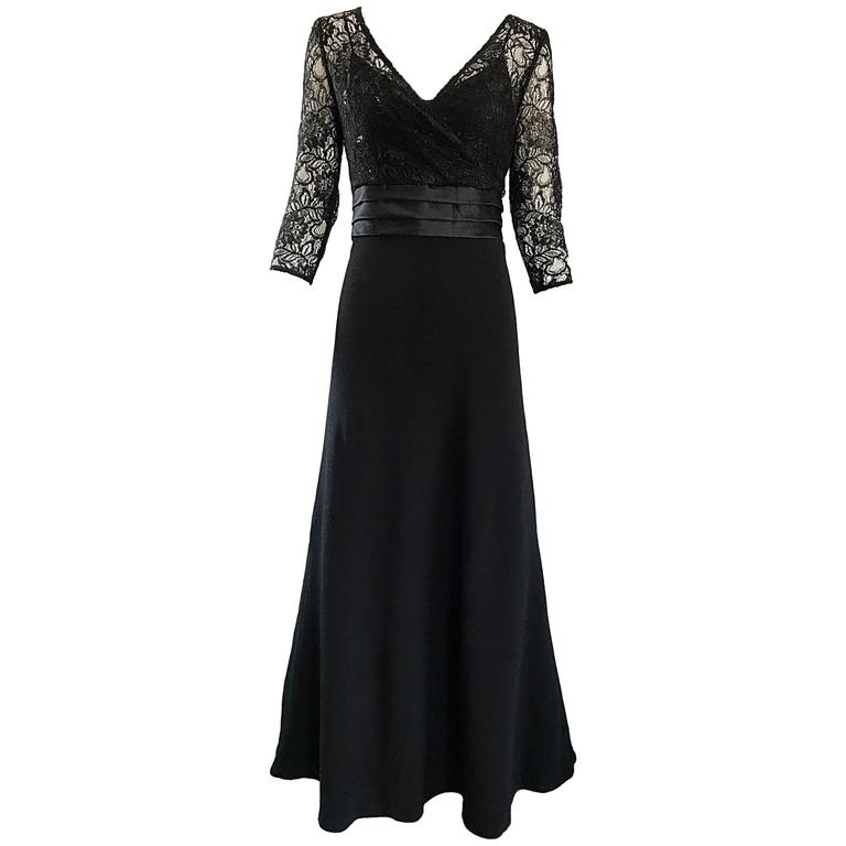 Badgley Mischka Beautiful Black Lace 3/4 Sleeves Size 8 Vintage Gown, 1990s