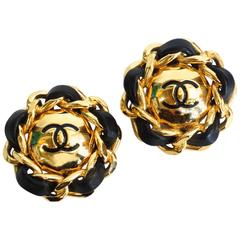 1980s Classic CC Chanel Leather and Gold Dome Earrings