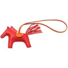 Hermes Milo Rose Indien/Orange Grigri Rodeo PM Bag Charm NIB