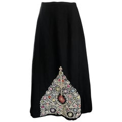 1970s Moroccan Inspired Black Colorful Embroidered 70s Vintage Boho Maxi Skirt