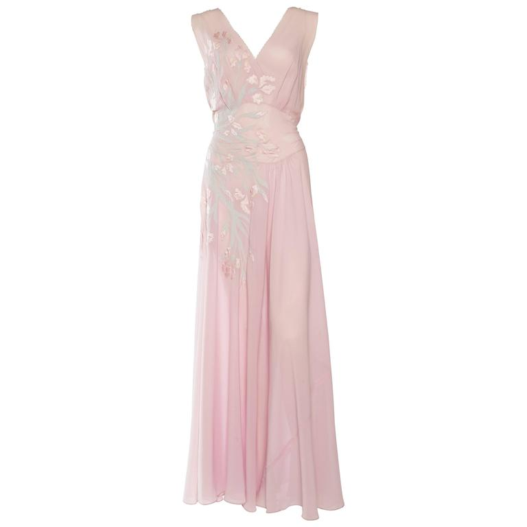1930s Couture Silk Negligee Slip Dress For Sale