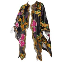 Antique Moroccan Silk Tapestry Coat with Brass Fringe