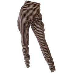 High-Waisted Gianfranco Ferre Silk Striped Trousers