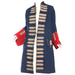 Victorian Blue & Red Wool Men's Antique French Guarde Nationale Frock Coat With