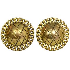 Chanel Goldtone Quilted Clip-On Earrings