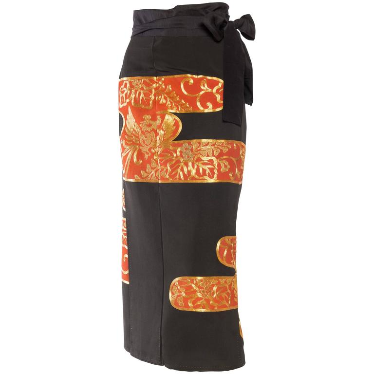 Silk Wrap Skirt Made From A Japanese Kimono Hand Embroidery in Gold
