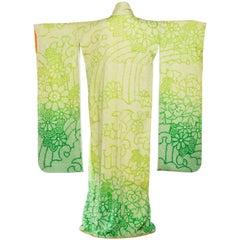 1960S Lime Green Japanese Shibori Silk  Dyed With Ombre Kimono