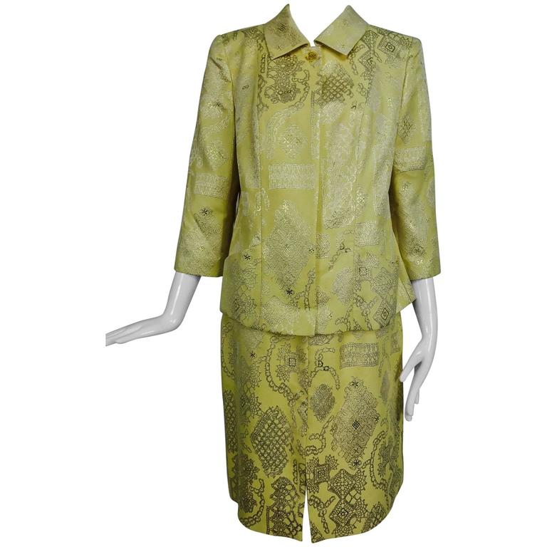 Vintage Christian LaCroix 2pc metallic brocade jacket and skirt 1980s