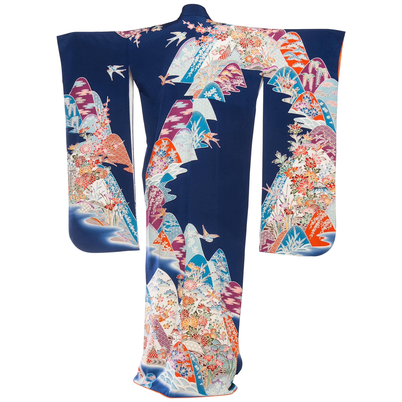 1960S Silk Rare Hand Painted Japanese  Kimono1960S Silk Rare Hand Painted Japane