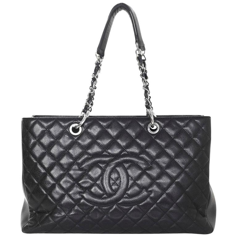 c5df7359b6d7 Chanel Black Caviar Leather XL Grand Shopper Tote GST Bag For Sale ...