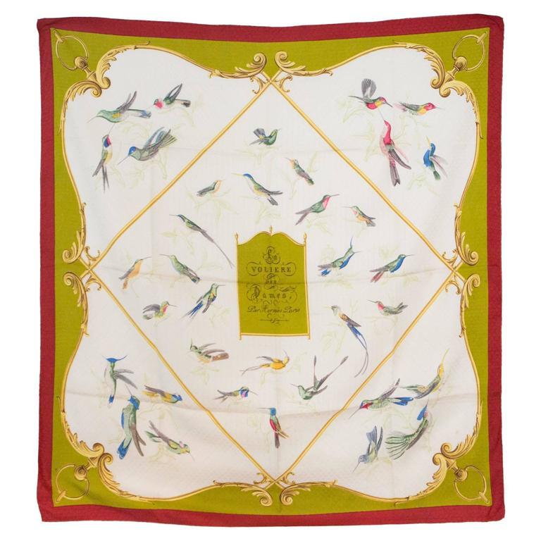 1960s Hermes A La volière Des Dames silk scarf