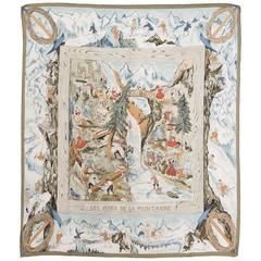1946s Hermes Rarity Les Joies De La Montagne Silk Scarf
