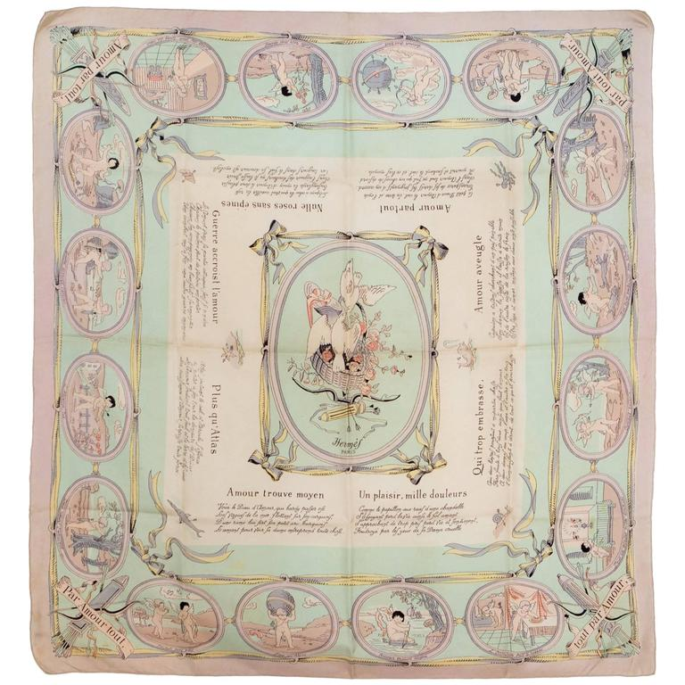 1947s  Les Amours Hermes Silk Scarf