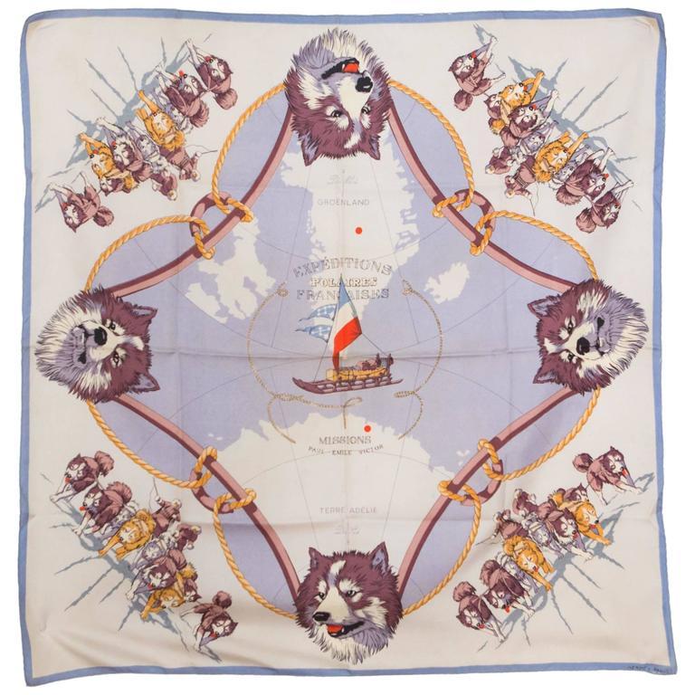 Rare 1951s Mission Paul Emile Victor Hermes Silk Scarf