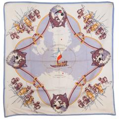 Rare 1951s Mission Paul Emile Victor Hermes Silk Scarf