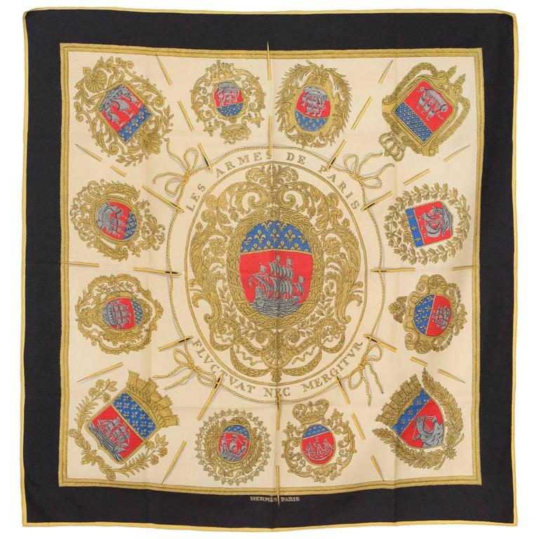 Multicoloured Hermes Les Armes De Paris Silk Scarf