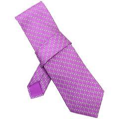 Hermes Purple & White Chain Print Silk Tie