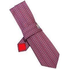 Hermes Red & Blue Chain Print Silk Tie