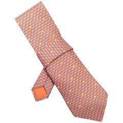 Hermes Orange & Blue Whale Print Silk Tie