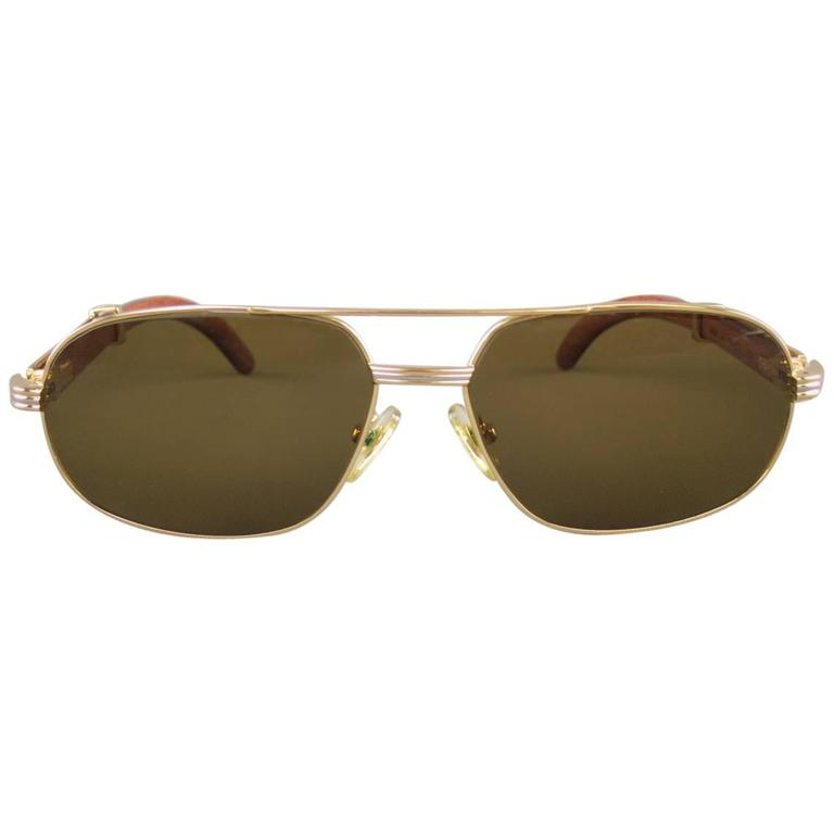 Cartier Gold Tone Metal and Wood Multi Lens Sunglasses, 1990s