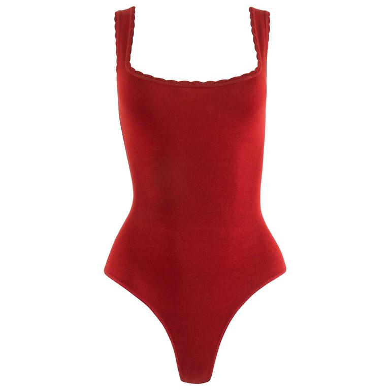 Alaia Spring-Summer 1992 red spandex knit bodysuit