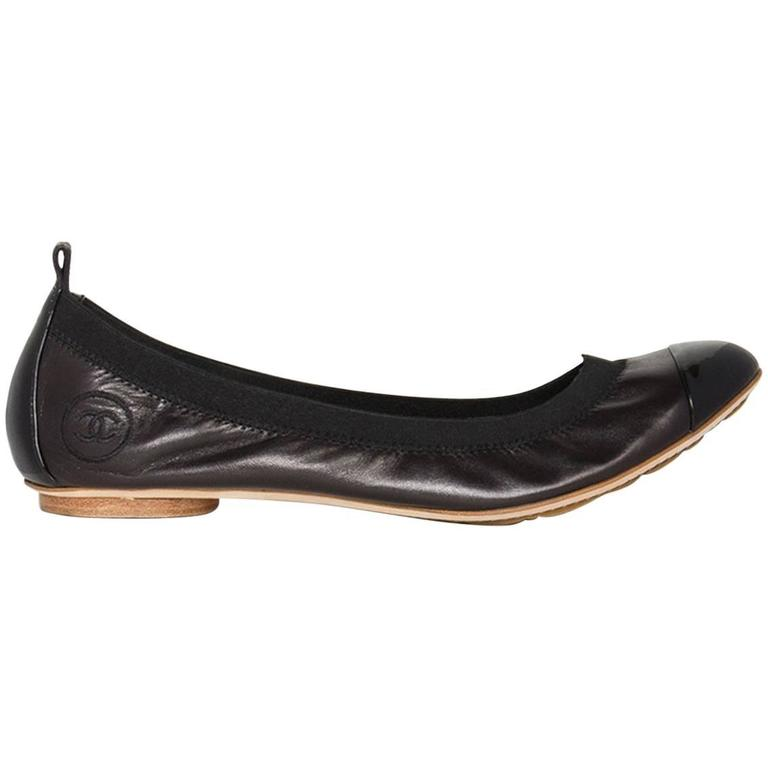 Traditional Chanel Black Leather Ballerina Shoes