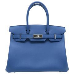 Hermes Birkin 30 Bleu Agate Blue Epsom Leather Silver Metal Top Handle Bag