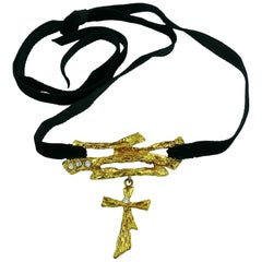 Christian Lacroix Vintage Cross Pendant Choker Necklace