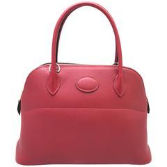 Hermes Bolide 27 Rouge Grenade Red Veau Epsom Leather Top Handle Bag