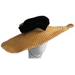 J Marti Marti Barcelona 1960s Straw & Velvet Wide Brim Saucer Hat Vintage