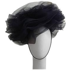 J Marti Marti Couture Barcelona 1960s Blue Mesh Fascinator Layered Hat