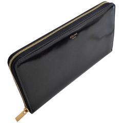 Céline Large Zipper Wallet in Vernis Black Leather, Unworn, New with accessories
