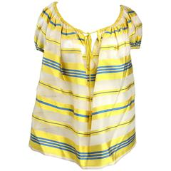 1990's Yves Saint Laurent Silk Dupioni Over Sized Yellow Striped  Blouse