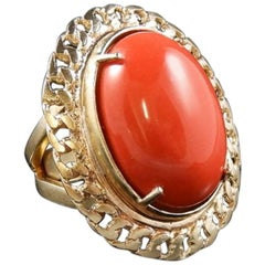 bronze and red glass paste cabochon ring by Patrizia Daliana
