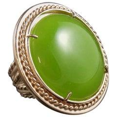bronze and green cabochon ring by Patrizia Daliana