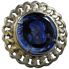 bronze and blue engraved Murano glass ring by Patrizia Daliana