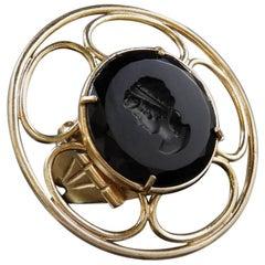 Bronze and black engraved Murano glass ring by Patrizia Daliana