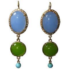 bronze turquoise and glass cabochon earrings by Patrizia Daliana
