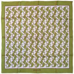 Rare Gucci 1970s Silk Green and Brown Fish Scarf